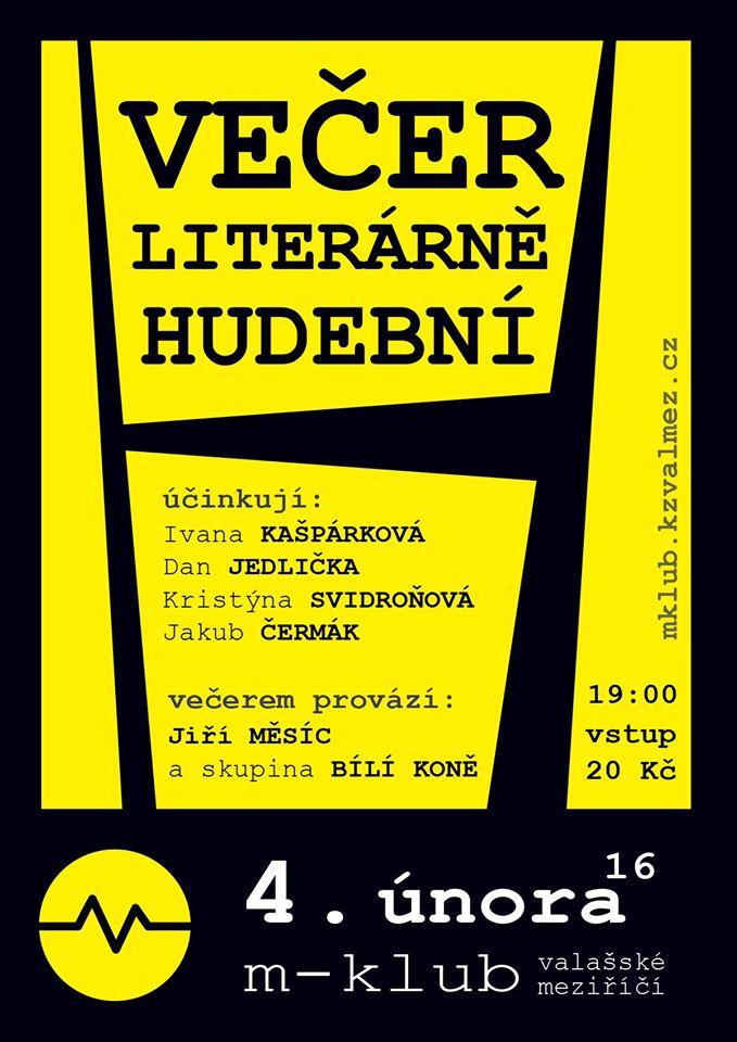 Pozvánka na Literárně-hudební večer 4.2.2016 v M-klubu